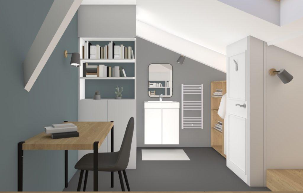 Conception en 3D de l'aménagement d'une chambre sous combles par Valérie Gobin Décoratrice